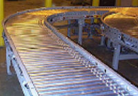 Powered roller belt conveyor.