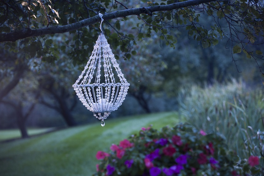 A Hanging Wire Basket Made For Plants Is Beaded And Transformed Into An Outdoor  Chandelier In This Project From Jo Ann Fabric And Crafts.