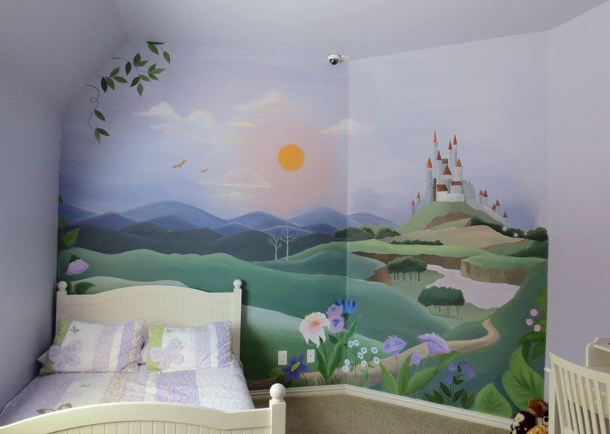 Girls mural gallery leila 39 s art corner face painting for Castle mural wallpaper
