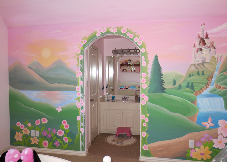 Girls mural gallery leila 39 s art corner face painting for Castle mural kids room