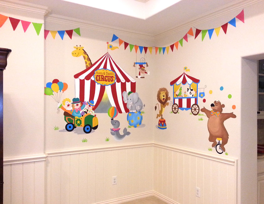 Playroom murals leila 39 s art corner face painting for Circus wall mural