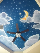 Night sky moon mural