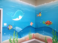 Underwater play room mural