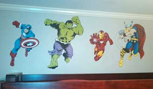 Boys room superhero mural