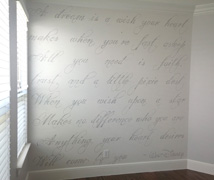 Disney writing on wall mural