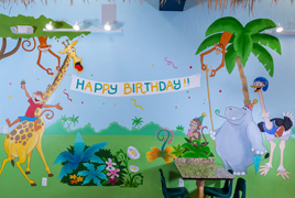 kids party room mural