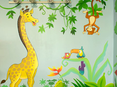 kids play space mural