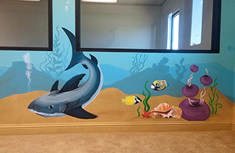 Underwater play room school mural