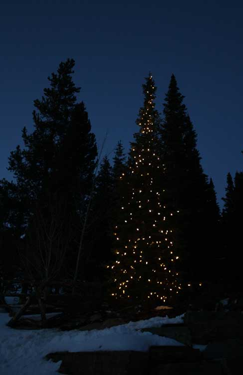 Christmas Lights On Stone Wall : irrigationinnovations - Current Project - Christmas Light install at the Yellowstone Club