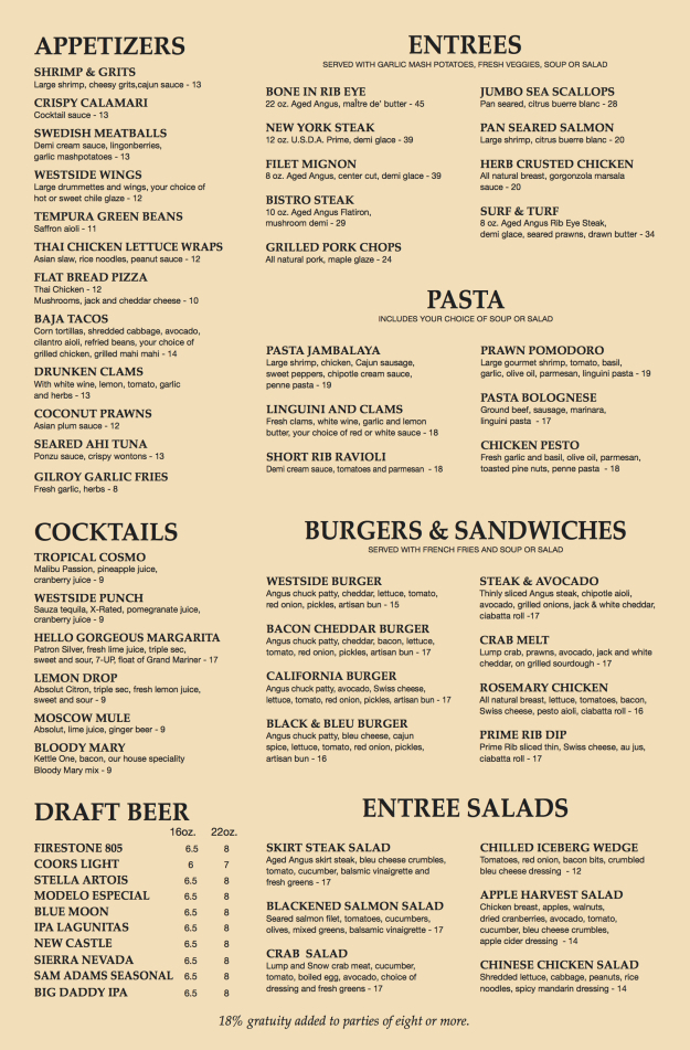 The Westside Grill - Dinner Menu
