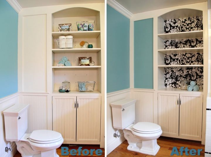 Sprucing up the bathroom built in blog homeandawaywithlisa for Bathroom built in shelving ideas