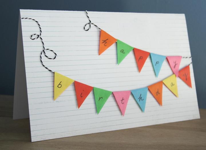 Bunting Happy Birthday Card Blog homeandawaywithlisa – Birthday Card Crafts