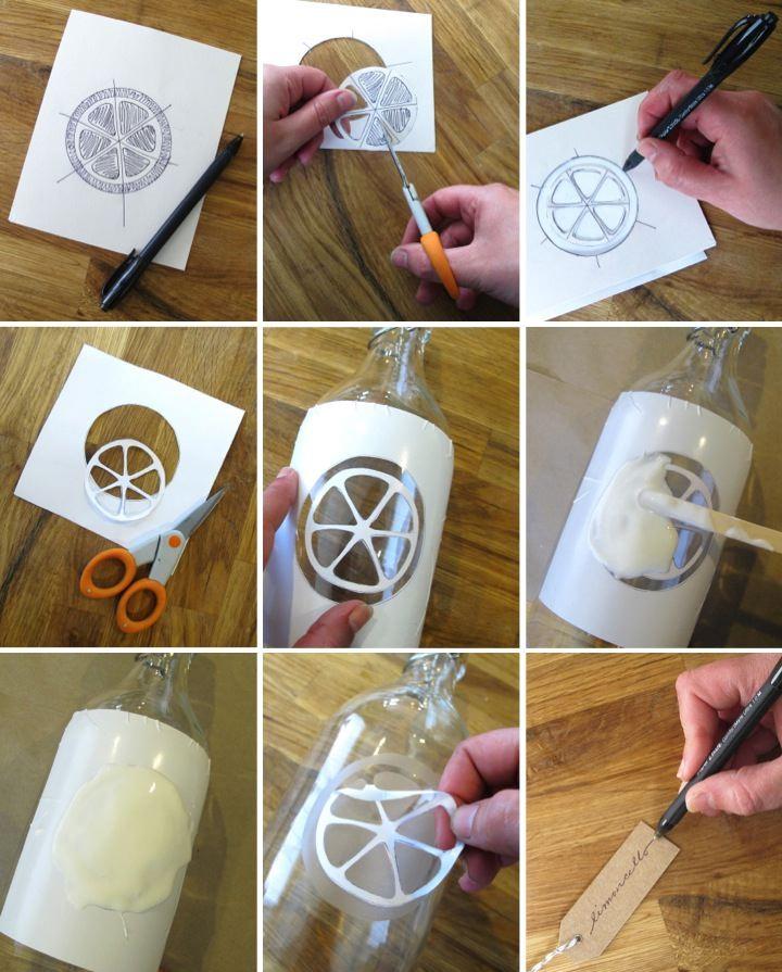 diy etched glass bottles for limoncello blog. Black Bedroom Furniture Sets. Home Design Ideas