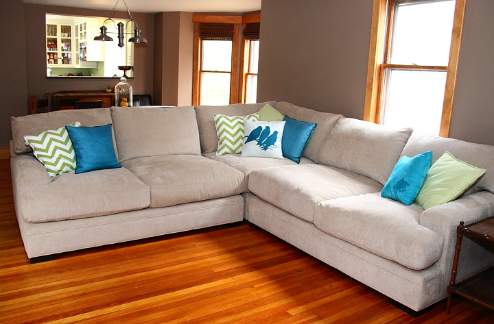 i think super couch looks great in my living room although now i have all sorts of things i want to do to spruce up the area the oatmeal color clashed with