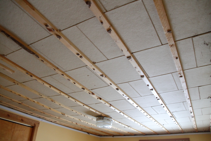 of course i had to keep going so i busted out my pry bar and pulled down all of the furring strips at this point it looked like i hadnt made any - Make Drop Ceiling Look Better
