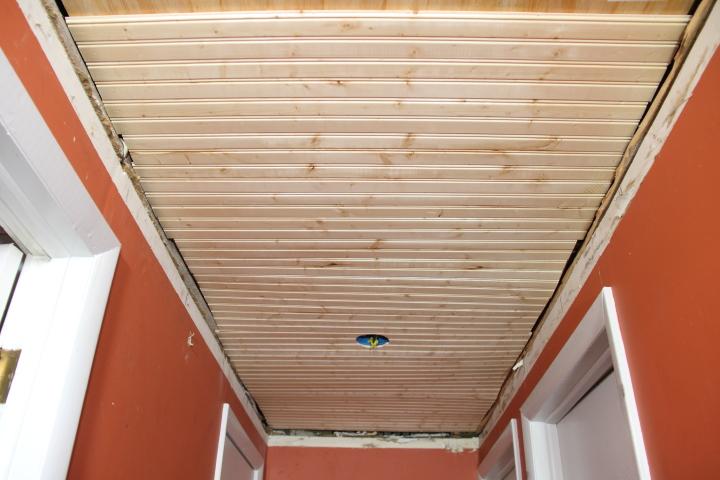 beadboard ceiling for the downstairs hallway blog - Beadboard Ceiling