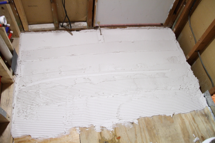 Bathroom floor preparation for tile