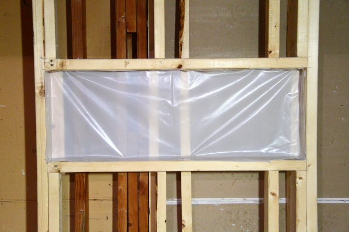 Next I cut a single continuous piece of sheeting that would wrap around my whole shower with some excess at the top and bottom  I cut tight holes around the. Installing the Vapor Barrier for the Bathroom Shower   Blog