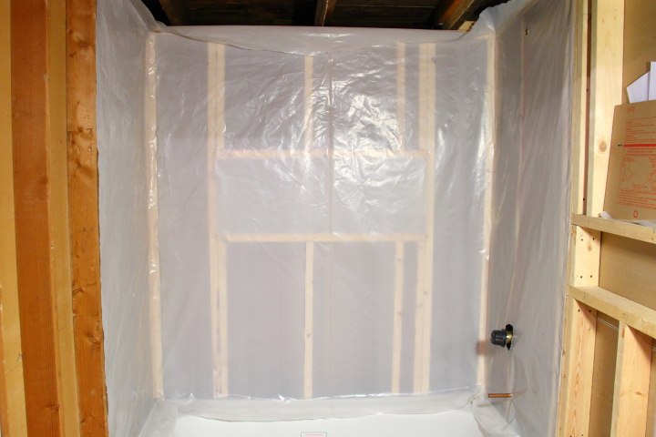 Installing the vapor barrier for the bathroom shower for Vapor barrier in bathroom