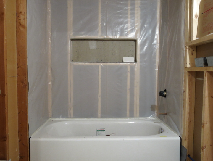 Installing the vapor barrier for the bathroom shower for Drywall or cement board for shower