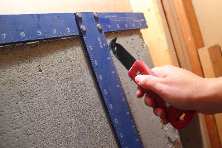 Cutting Cement Board : Drywall and cement board for the downstairs bathroom