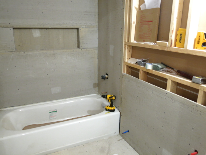 Cement Board Shower : Drywall and cement board for the downstairs bathroom