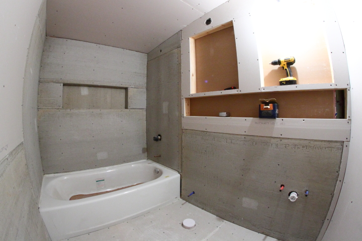 drywall and cement board for the downstairs bathroom