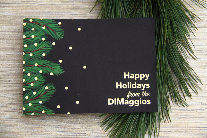 gold foil holiday cards with hand drawn evergreens blog