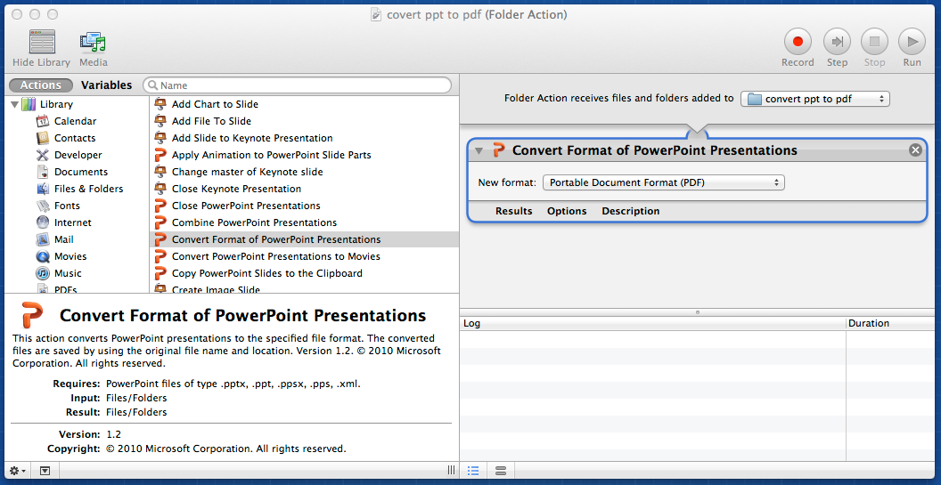 'Convert PPT to PDF' Automator workflow