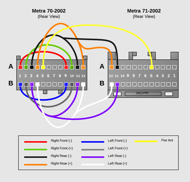 sha bypass factory amp crossover in 2002 chevy tahoe the next step is to reinstall the wiring between the metra 70 2002 connector and the metra 71 2002 connector the wiring diagram below is what we will be