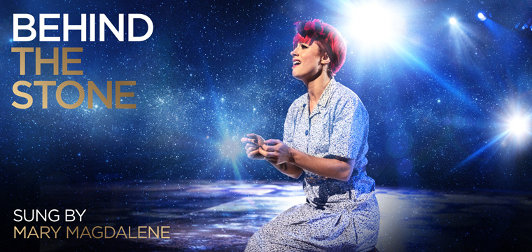 J Marie Cooper playing Mary Magdalene in the stage musical premiere of Love Beyond at the Brighton Centre