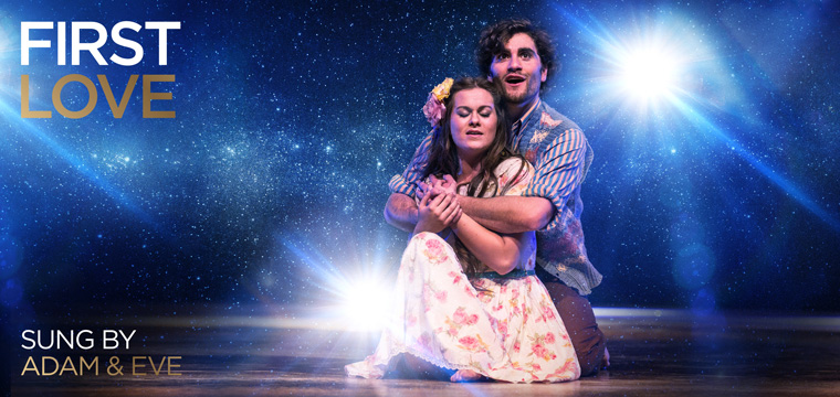 Simeon Oakes and Sophie Nicholls as Adam and Eve in the stage musical premiere of Love Beyond at the Brighton Centre
