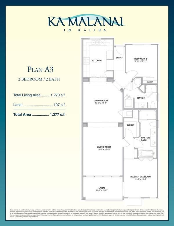 Ka Malanai Floor Plan A3 Released by DR Horton Oahu Hawaii