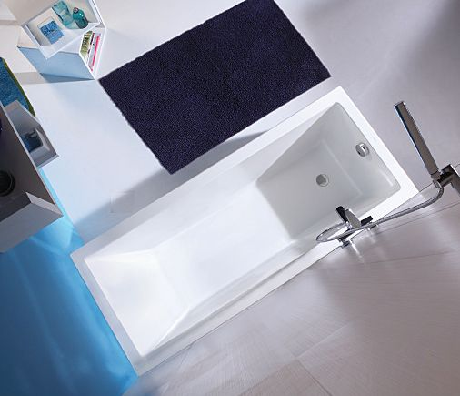 Many apartments and smaller homes have to meet code-required door swings to  allow access  Image of: very narrow bathtub .