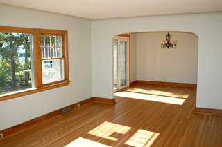 Empty living room after Vesel Construction completed remodeling.