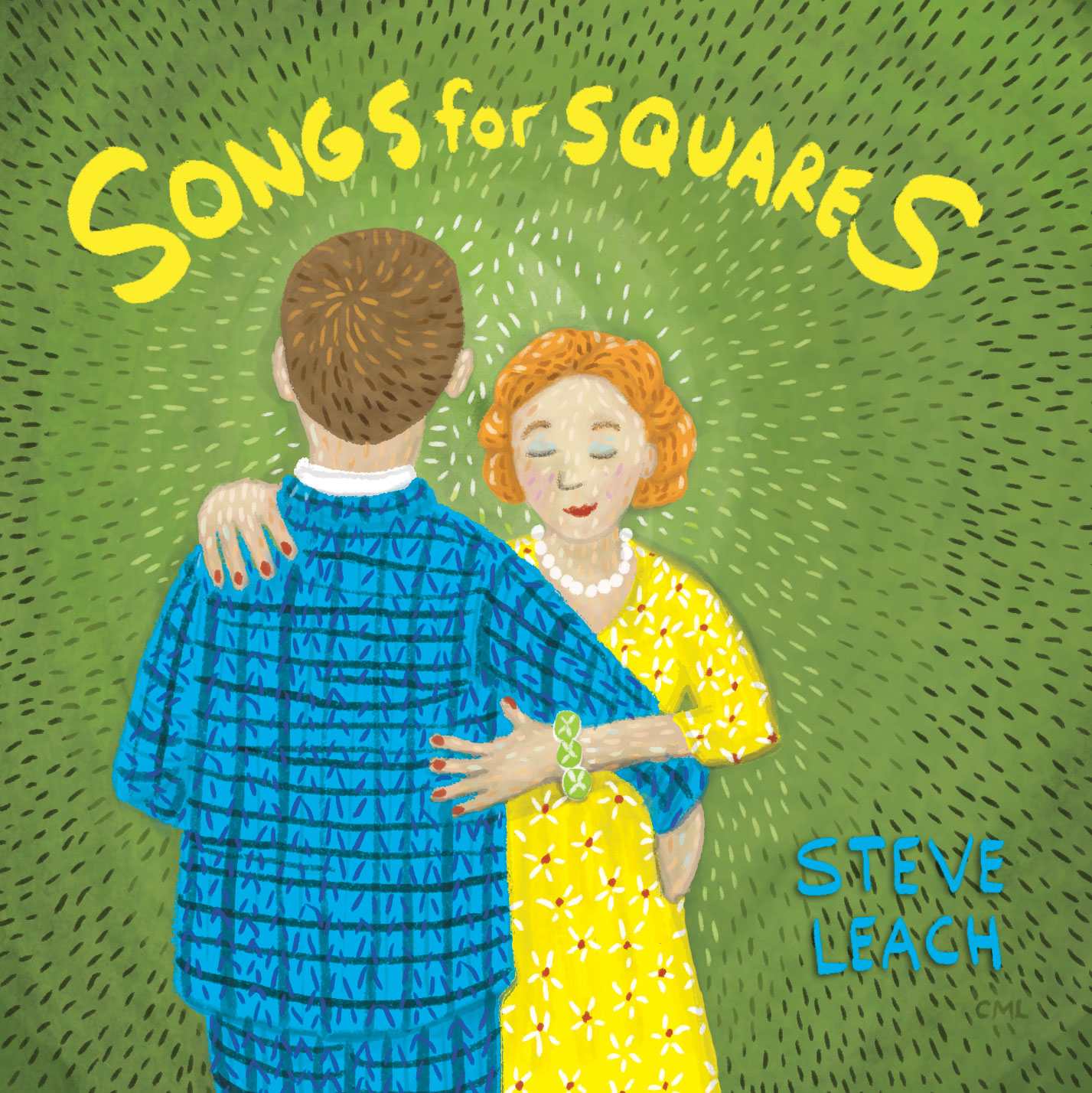 Christine Marie Larsen Illustration: CD Cover Illustration of a couple dancing. Songs for Squares, Steve Leach