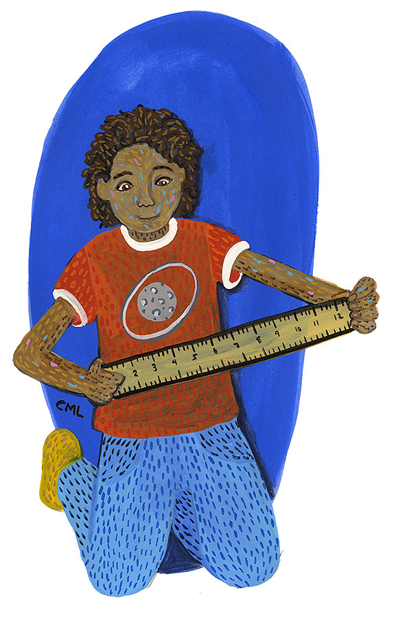 Christine Marie Larsen Illustration of a Girl holding a Ruler