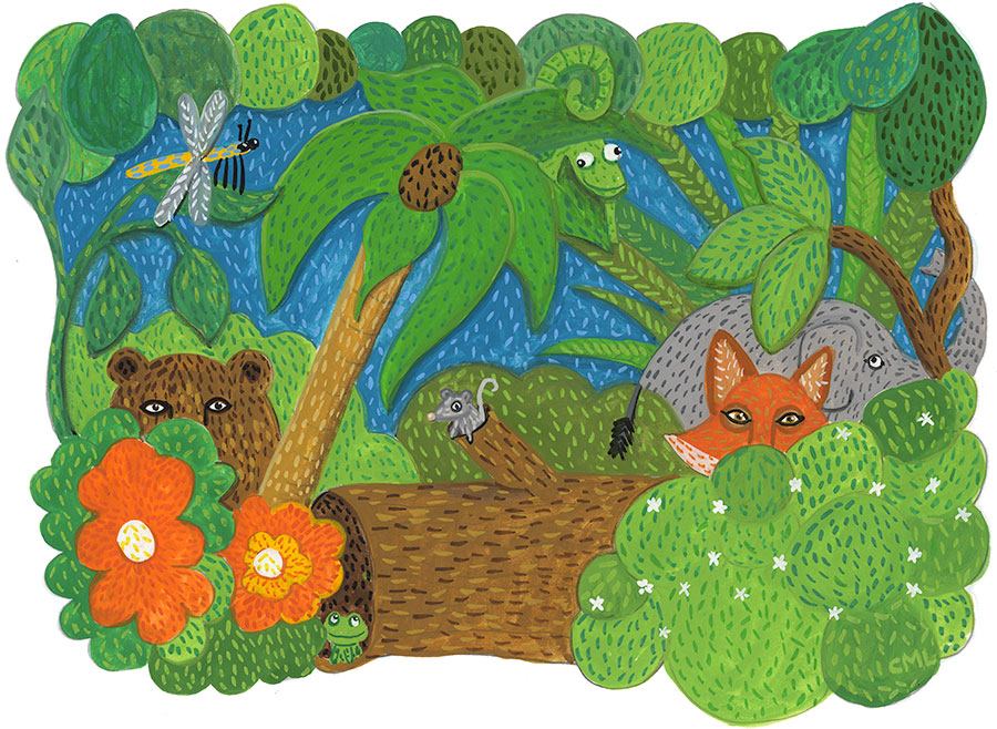 Christine Marie Larsen Illustration: Animals Peeking out of Jungle