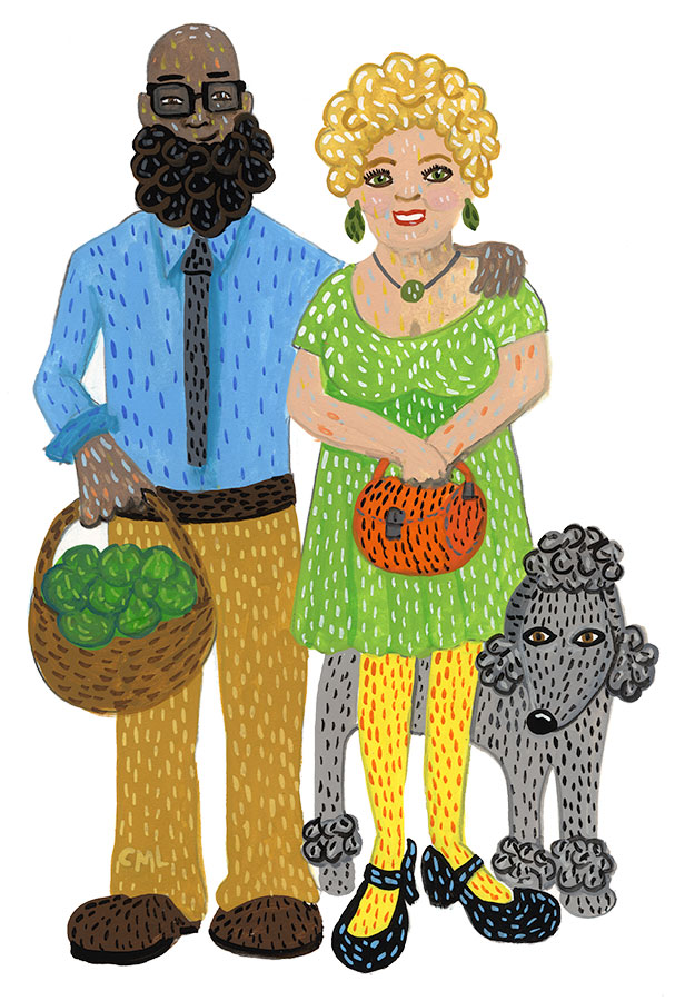 Christine Marie Larsen Illustration of a couple with curly hair and a poodle