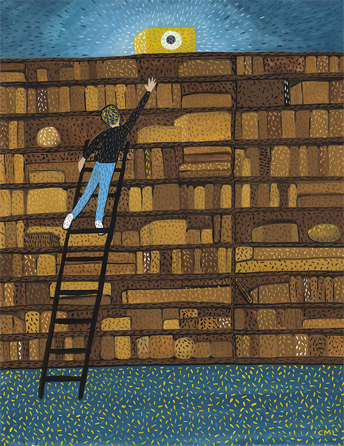 Christine Marie Larsen Illustration of a person on a ladder reaching for a box