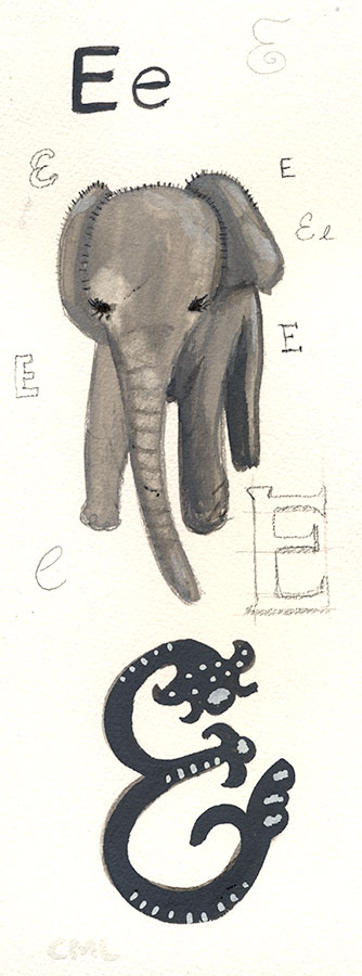 Christine Marie Larsen Illustration of a baby elephant and the letter e