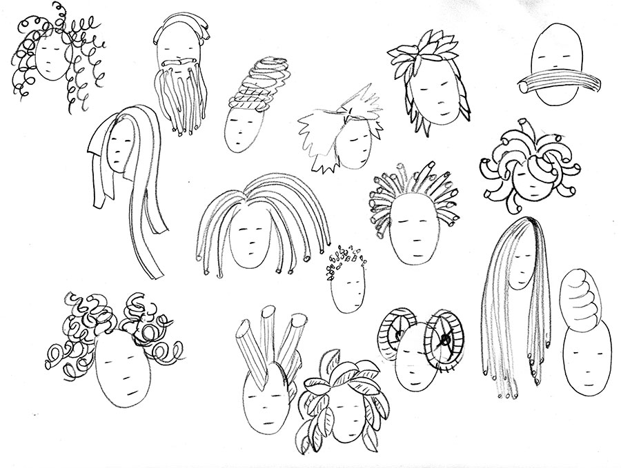 Christine Marie Larsen Illustration Pasta Hairdo Sketches