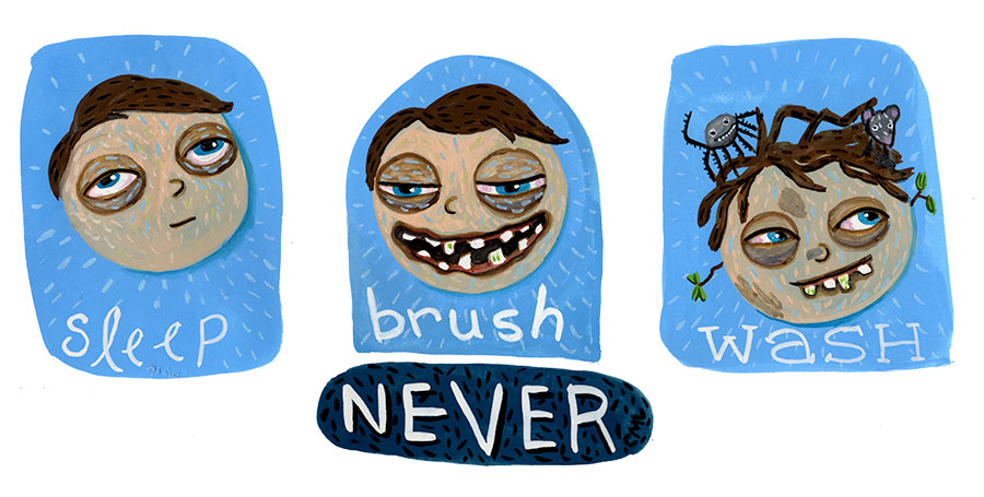 Christine Marie Larsen Illustration of a boy who never sleeps, brushes teeth, or washes.
