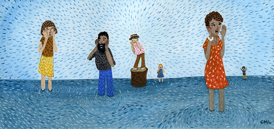 Christine Marie Larsen Illustration People standing in water hollering