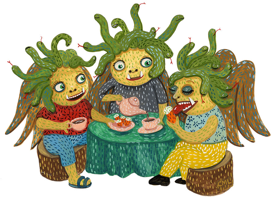 Christine Marie Larsen Illustration Gorgon Tea Party Medusa, Sthenno and Euryale