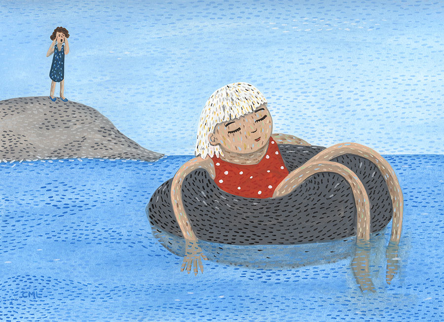 Christine Marie Larsen Illustation: Floating on the Lake in an inner tube.