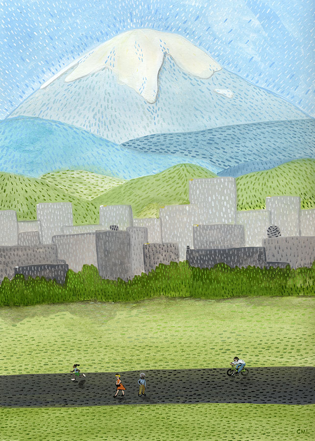 Christine Marie Larsen Illustration of a mountain scene with cityscape and people walking in a park. Mt. Rainier