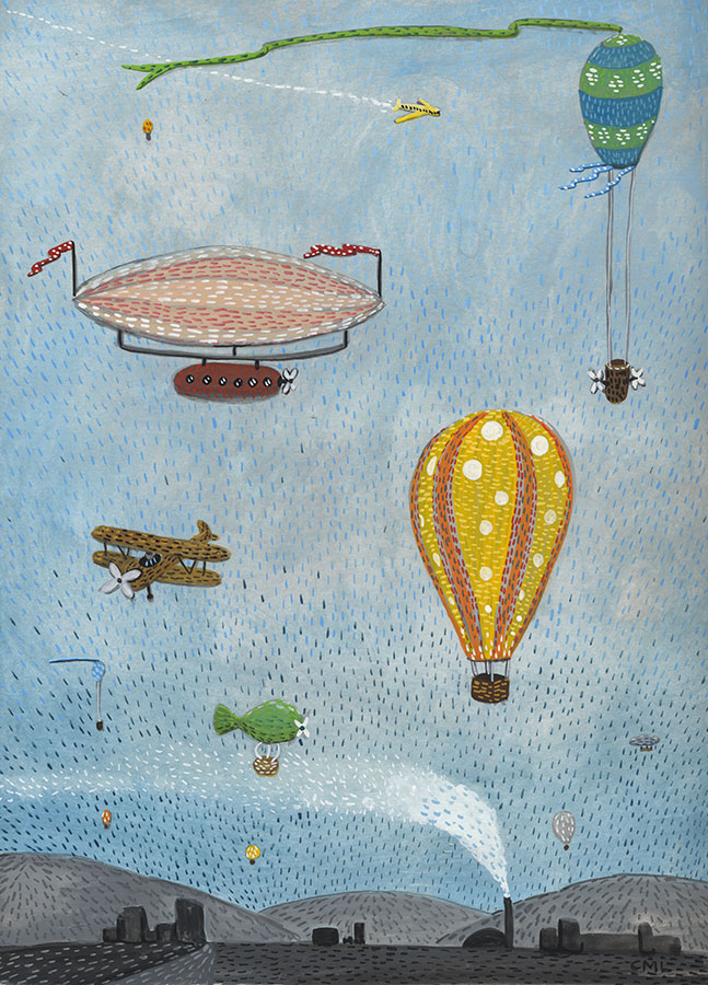 Illustration of flying machines and hot air balloons by Christine Marie Larsen