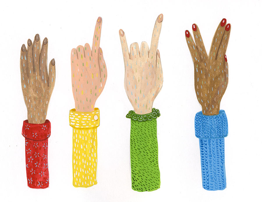 An illustration of some hand gestures by Christine Marie Larsen