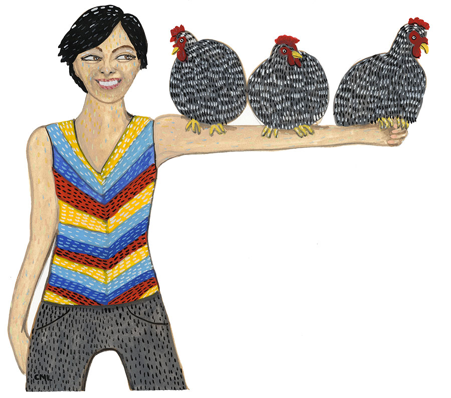 Illustration of woman holding three Plymouth Barred Rock Chickens by Christine Marie Larsen